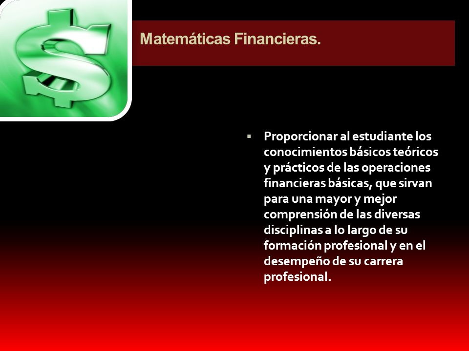 Matemáticas Financieras.