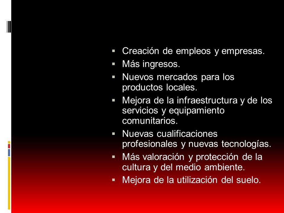 Creación de empleos y empresas.