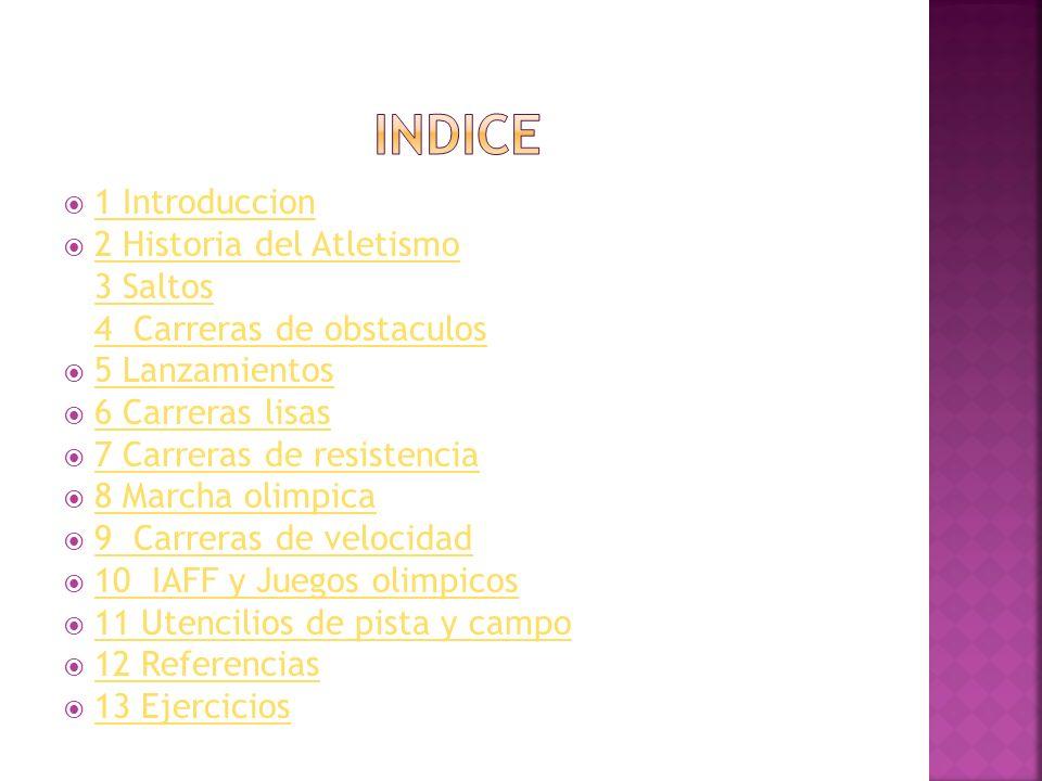 INDICE 1 Introduccion 2 Historia del Atletismo 3 Saltos