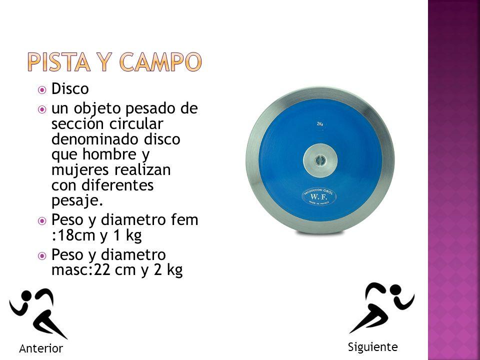 PISTA Y CAMPO Disco. un objeto pesado de sección circular denominado disco que hombre y mujeres realizan con diferentes pesaje.