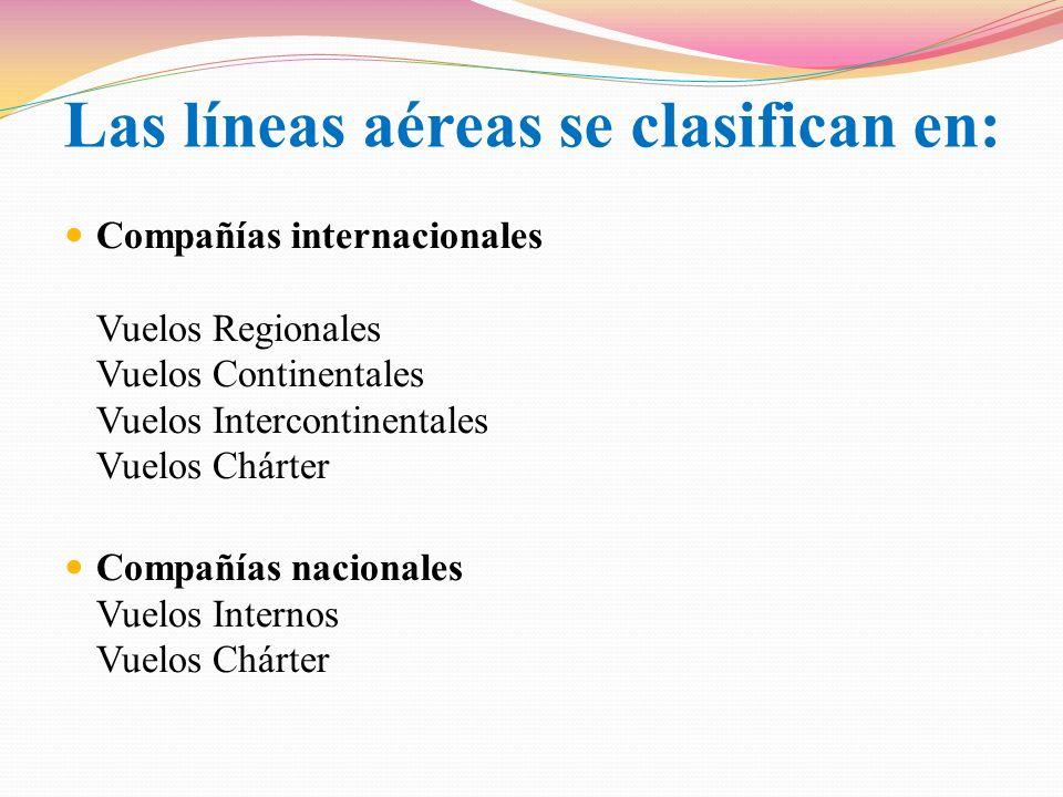 Las líneas aéreas se clasifican en:
