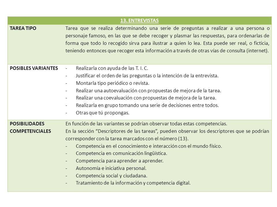 13. ENTREVISTAS TAREA TIPO.