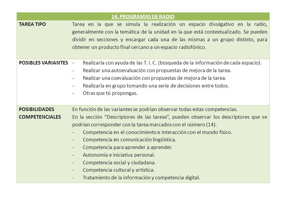 14. PROGRAMAS DE RADIO TAREA TIPO.