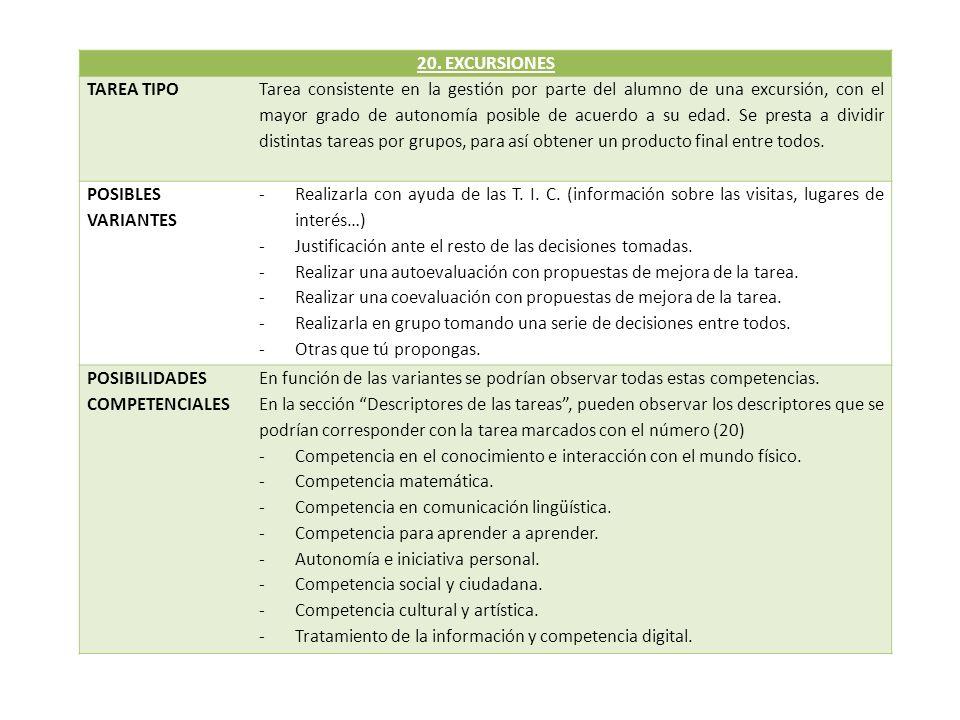 20. EXCURSIONES TAREA TIPO.