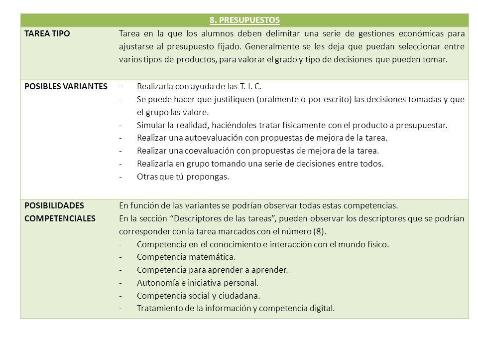 8. PRESUPUESTOS TAREA TIPO.