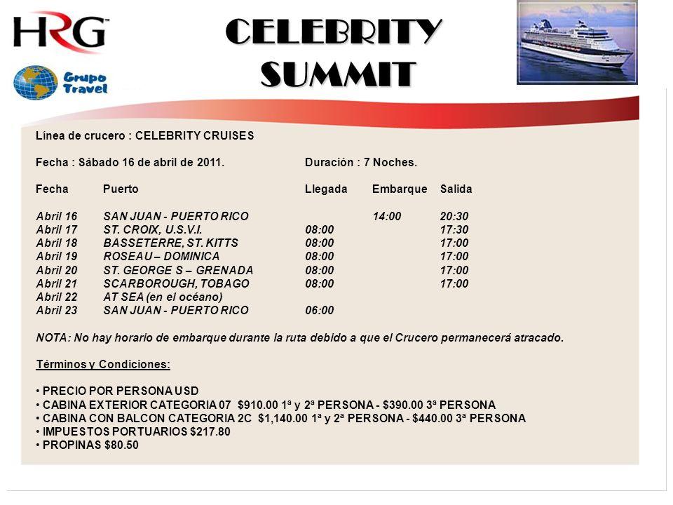 CELEBRITY SUMMIT Línea de crucero : CELEBRITY CRUISES