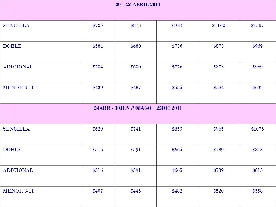 20 – 23 ABRIL 2011 SENCILLA. $725. $873. $1018. $1162. $1307. DOBLE. $584. $680. $776. $969.