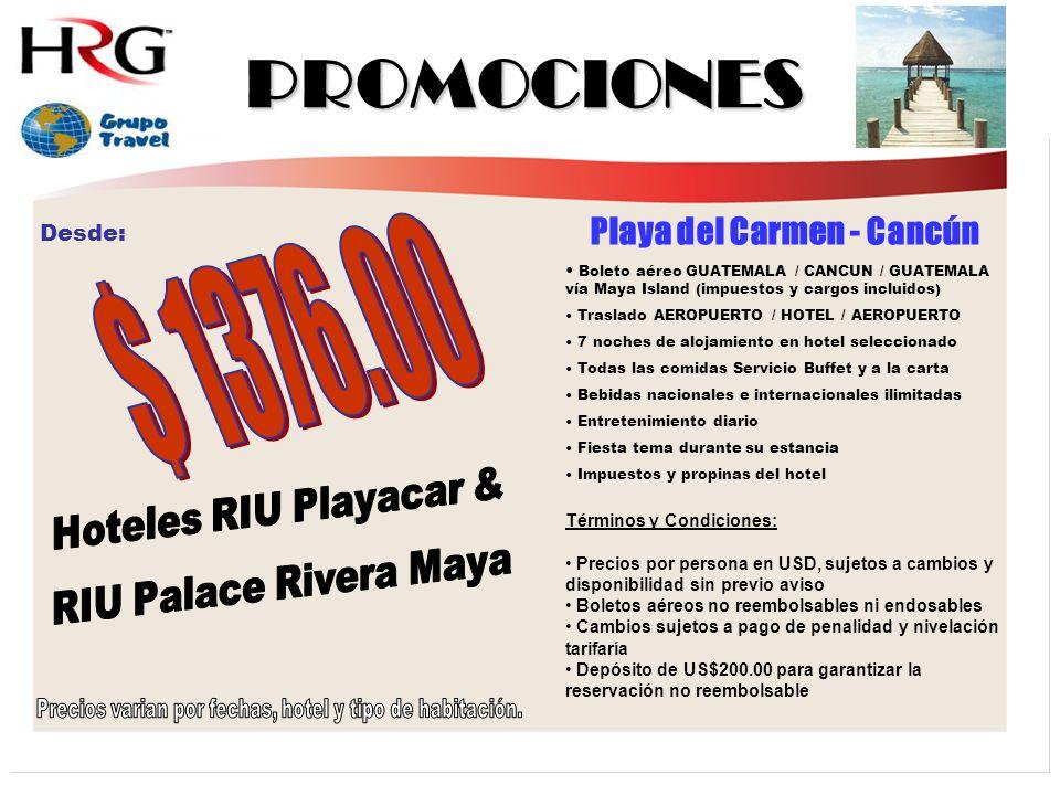 PROMOCIONES $ 1376.00 Playa del Carmen - Cancún Hoteles RIU Playacar &