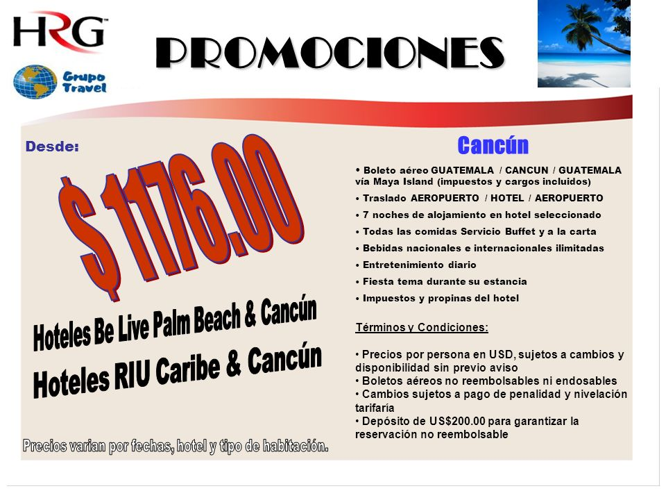 PROMOCIONES $ 1176.00 Cancún Hoteles Be Live Palm Beach & Cancún