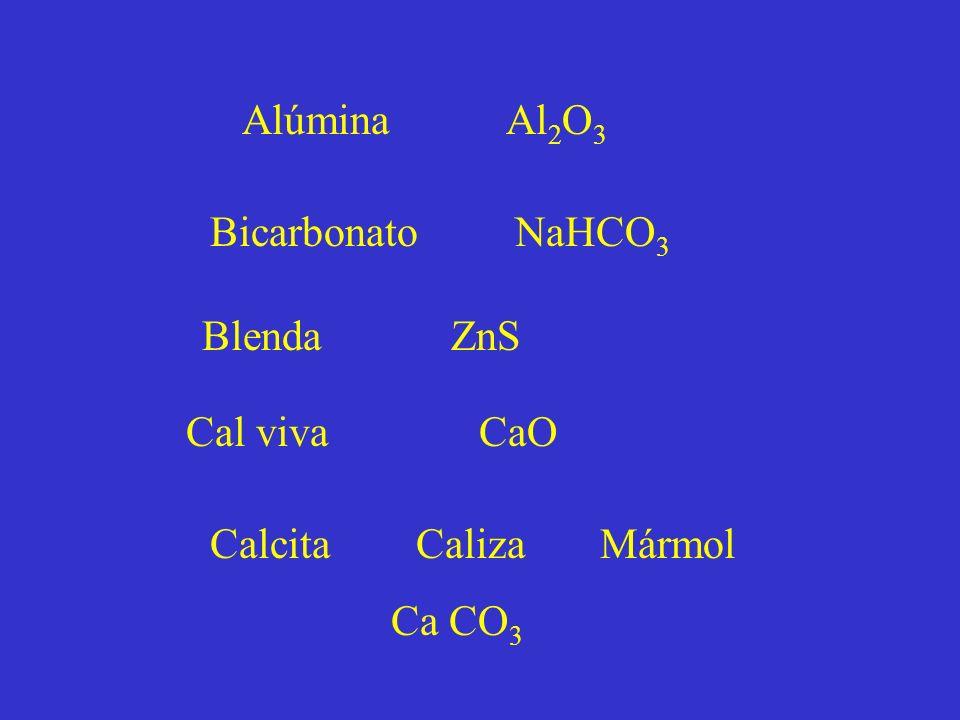 Alúmina Al2O3 Bicarbonato NaHCO3. Blenda ZnS. Cal viva CaO.