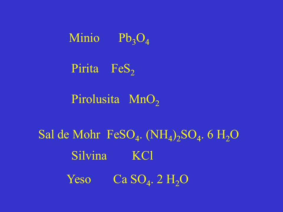 Minio Pb3O4 Pirita FeS2. Pirolusita MnO2. Sal de Mohr FeSO4. (NH4)2SO4. 6 H2O. Silvina KCl.