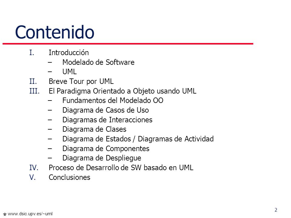 Contenido Introducción Modelado de Software UML Breve Tour por UML