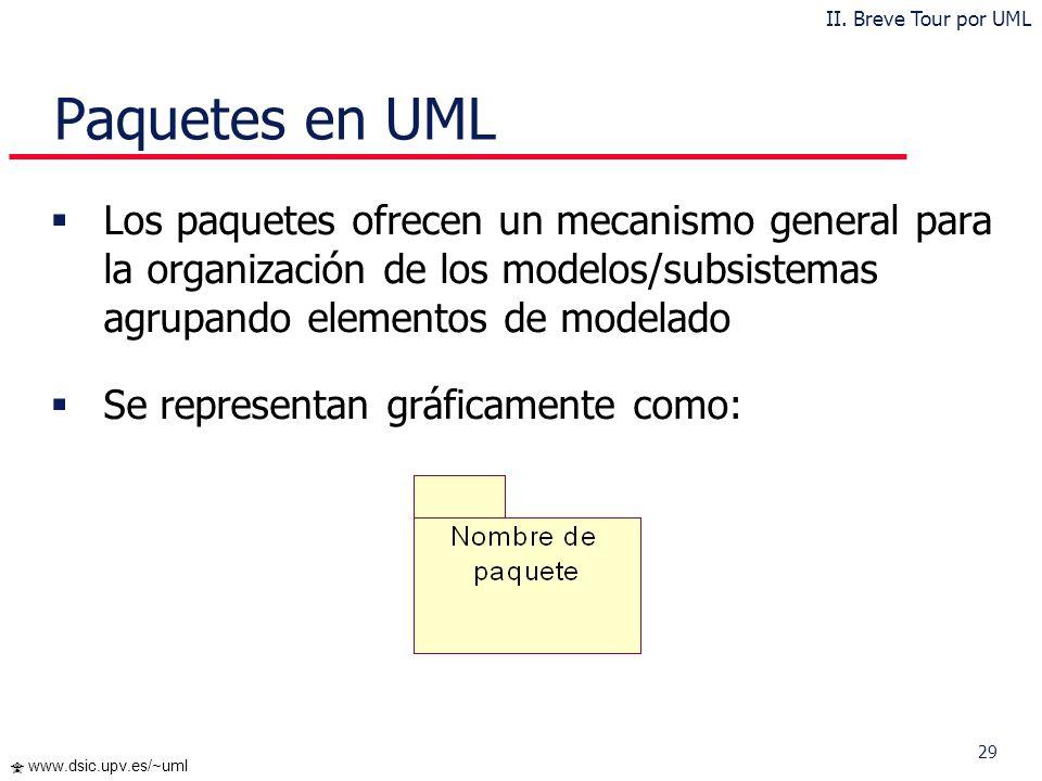 II. Breve Tour por UML Paquetes en UML.