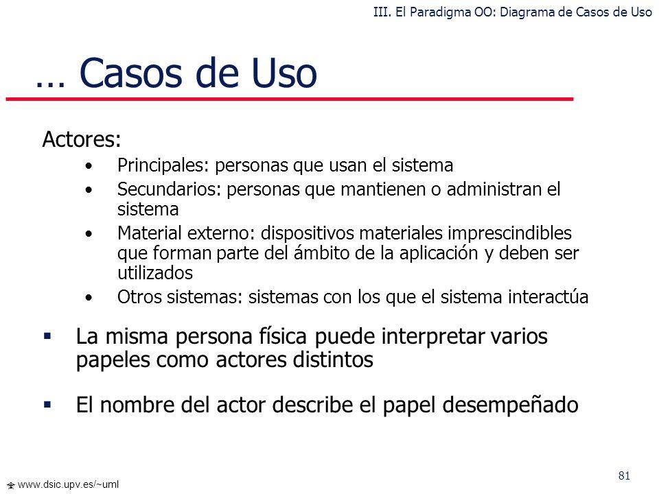 III. El Paradigma OO: Diagrama de Casos de Uso