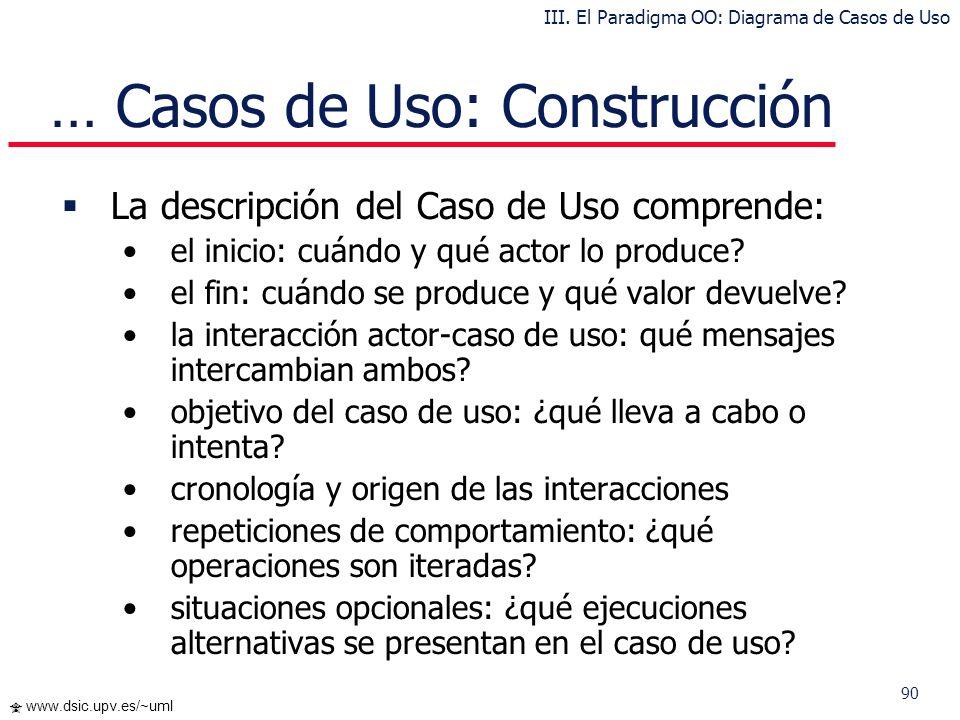 … Casos de Uso: Construcción