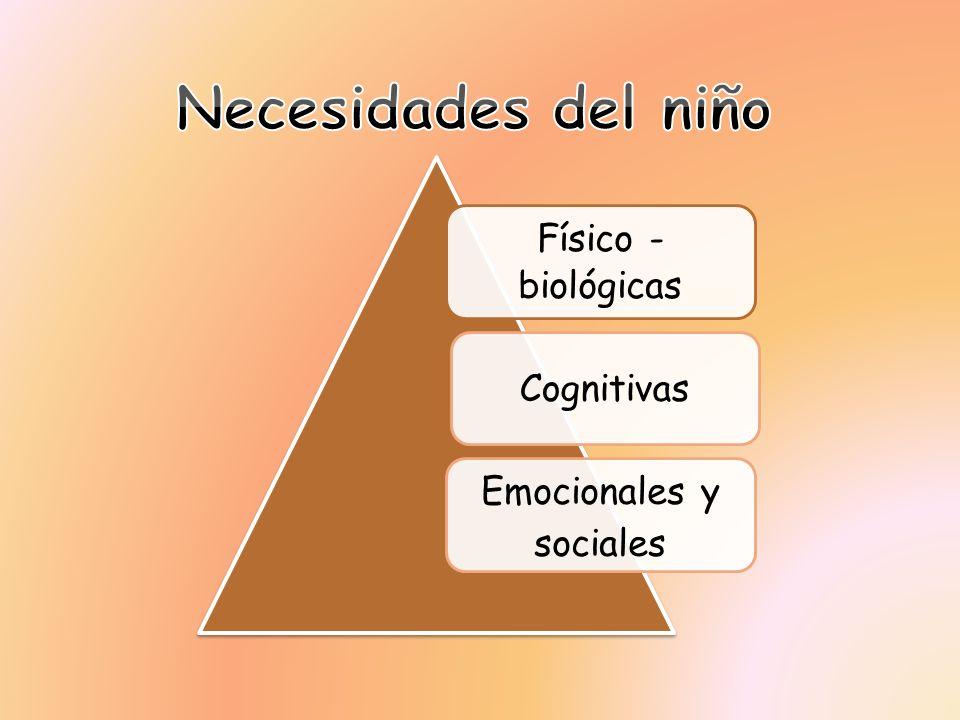 Necesidades del niño Emocionales y Físico -biológicas Cognitivas