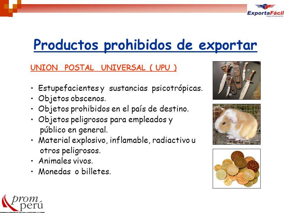 Productos prohibidos de exportar