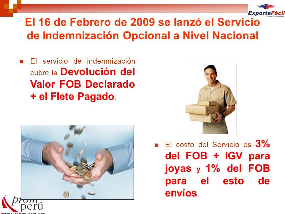El 16 de Febrero de 2009 se lanzó el Servicio de Indemnización Opcional a Nivel Nacional