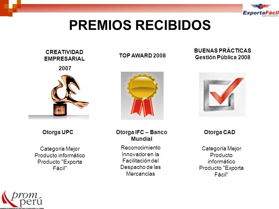 PREMIOS RECIBIDOS CREATIVIDAD EMPRESARIAL 2007