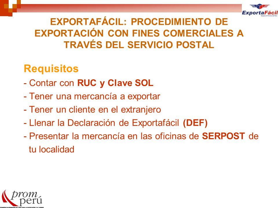 EXPORTAFÁCIL: PROCEDIMIENTO DE EXPORTACIÓN CON FINES COMERCIALES A TRAVÉS DEL SERVICIO POSTAL