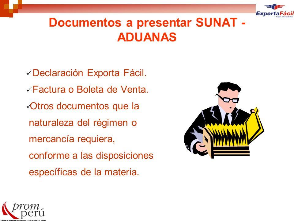 Documentos a presentar SUNAT - ADUANAS