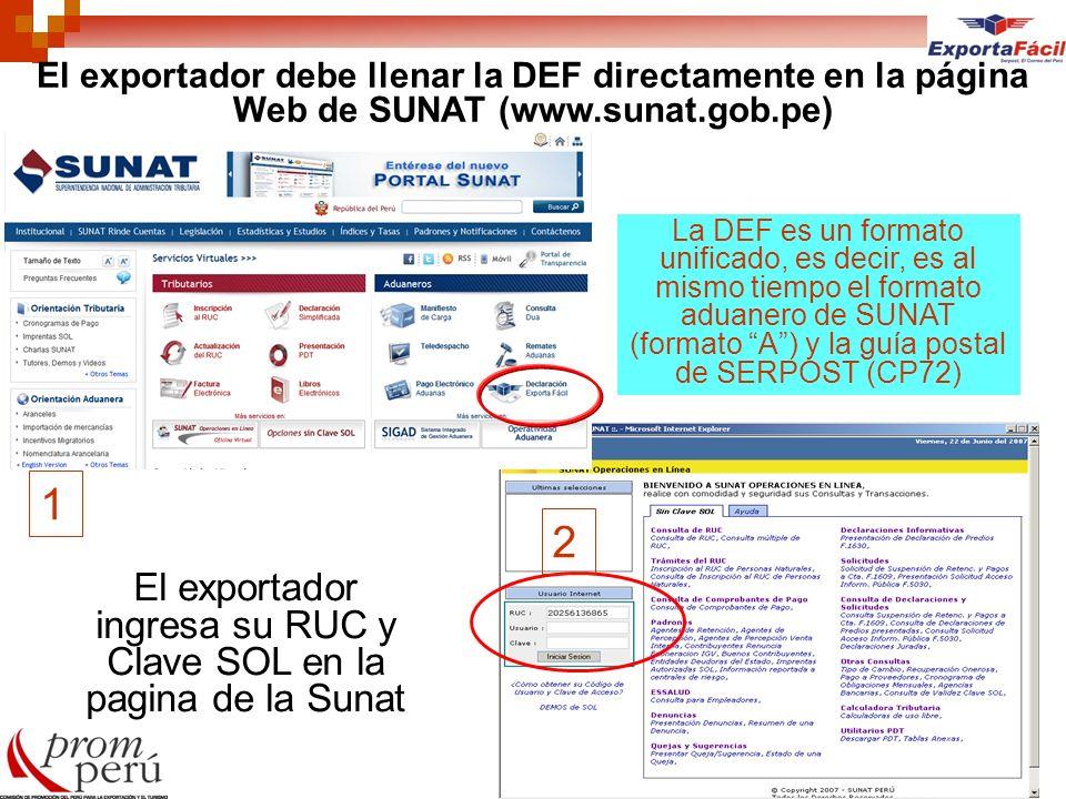 El exportador ingresa su RUC y Clave SOL en la pagina de la Sunat