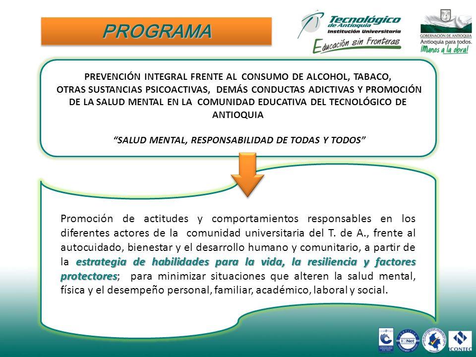 PROGRAMA PREVENCIÓN INTEGRAL FRENTE AL CONSUMO DE ALCOHOL, TABACO,