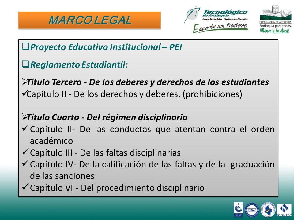MARCO LEGAL Proyecto Educativo Institucional – PEI