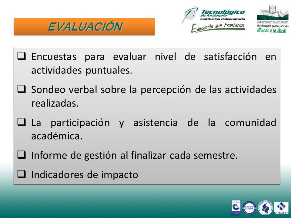EVALUACIÓN Encuestas para evaluar nivel de satisfacción en actividades puntuales. Sondeo verbal sobre la percepción de las actividades realizadas.