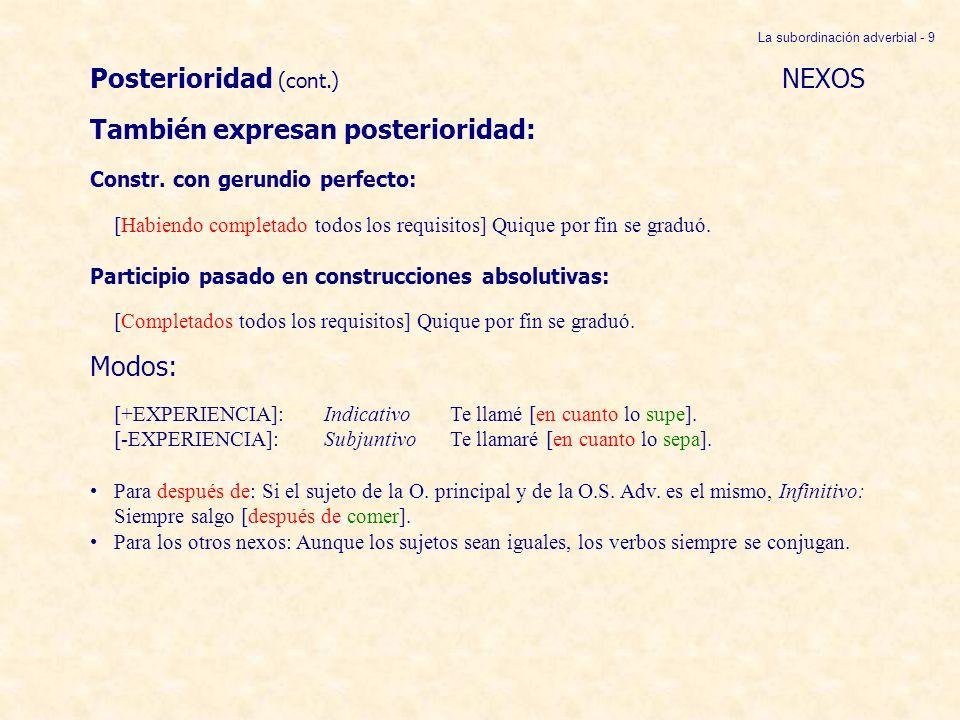 Posterioridad (cont.) NEXOS También expresan posterioridad: