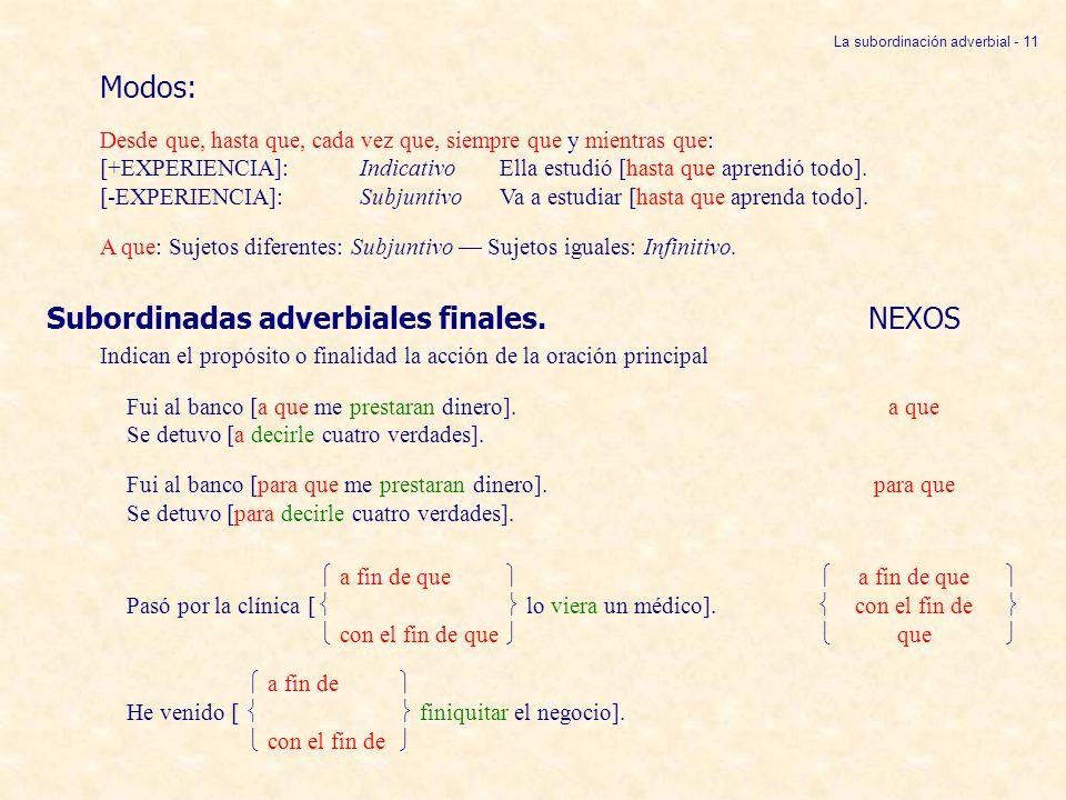 La subordinación adverbial - 11