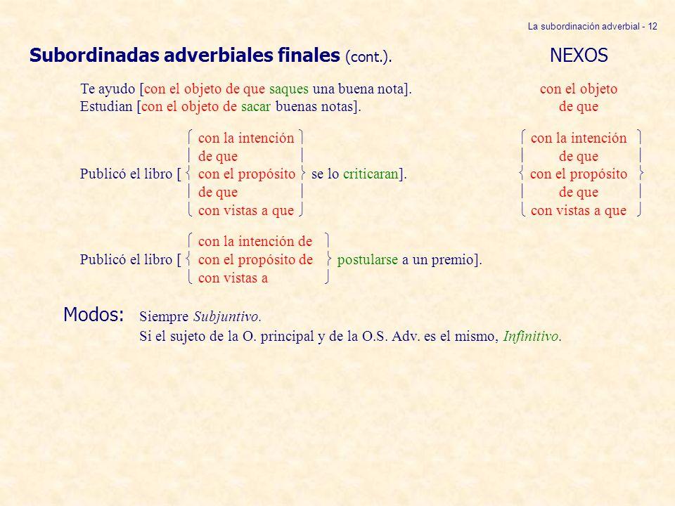 La subordinación adverbial - 12