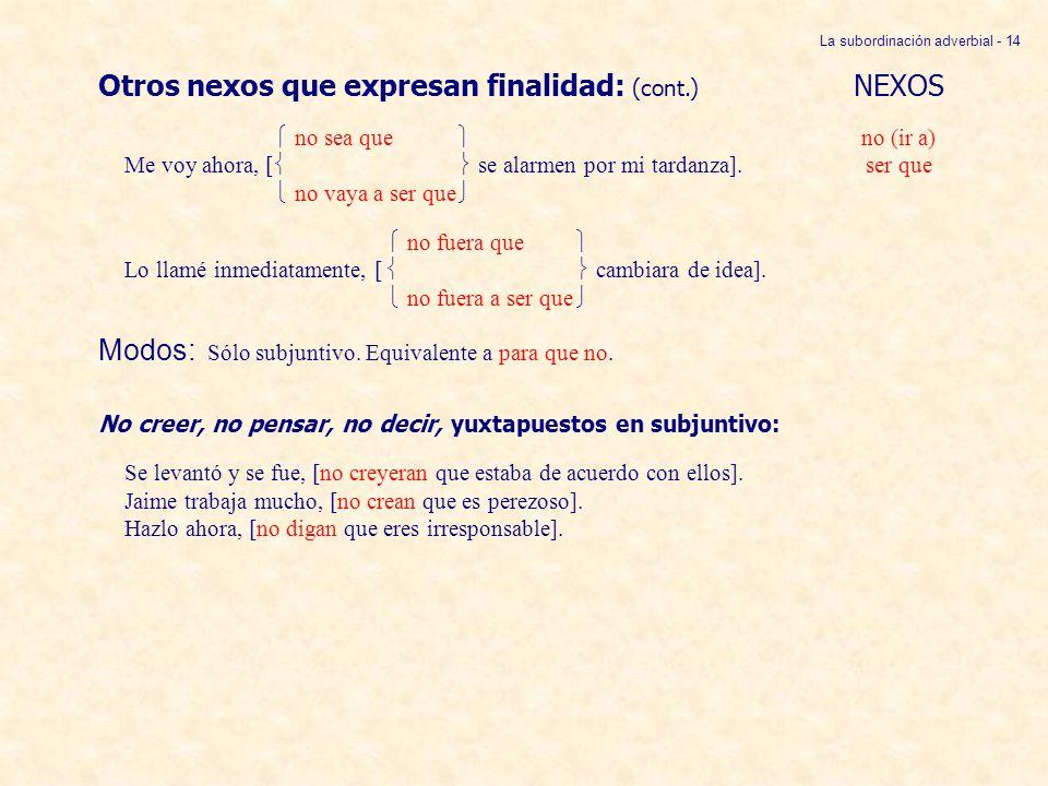La subordinación adverbial - 14