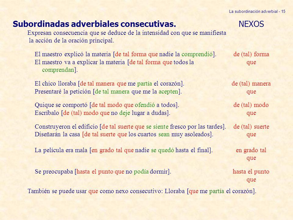 La subordinación adverbial - 15
