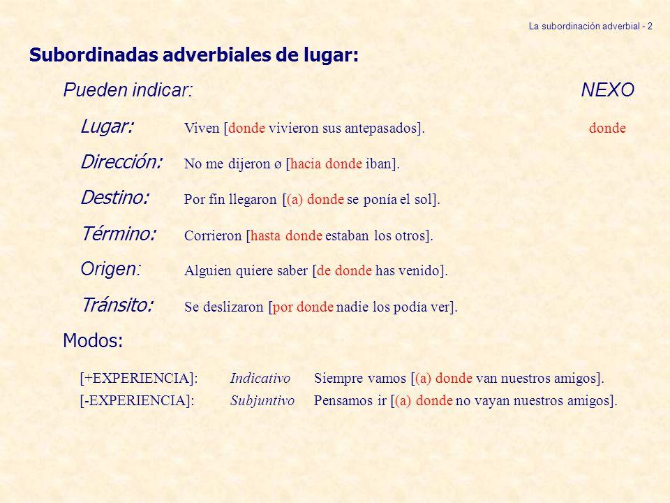 La subordinación adverbial - 2
