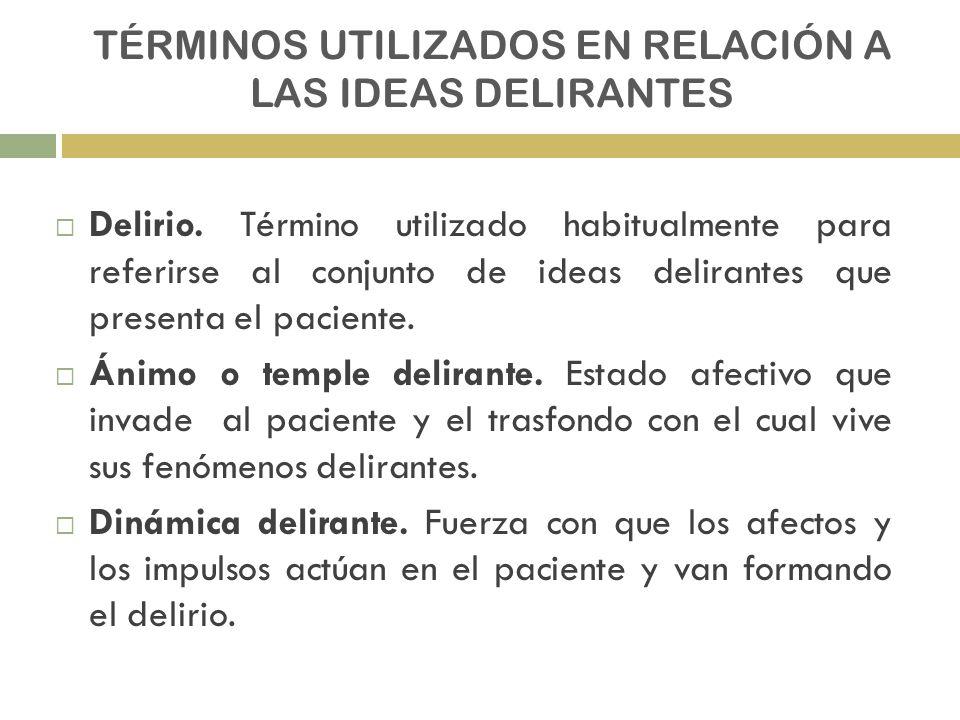 TÉRMINOS UTILIZADOS EN RELACIÓN A LAS IDEAS DELIRANTES