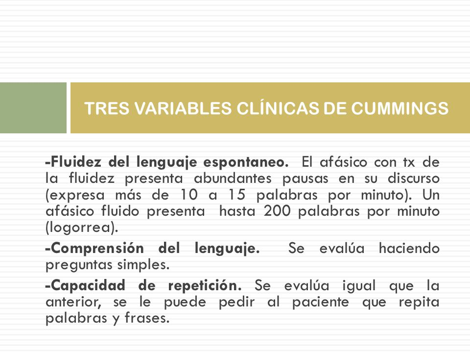 TRES VARIABLES CLÍNICAS DE CUMMINGS