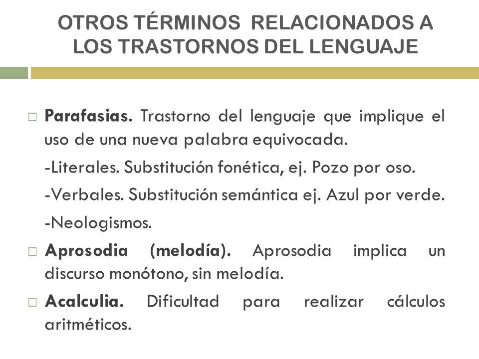 OTROS TÉRMINOS RELACIONADOS A LOS TRASTORNOS DEL LENGUAJE