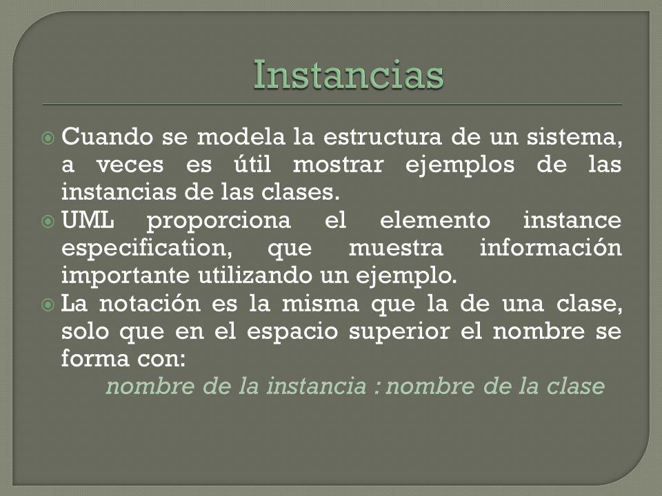 Instancias Cuando se modela la estructura de un sistema, a veces es útil mostrar ejemplos de las instancias de las clases.