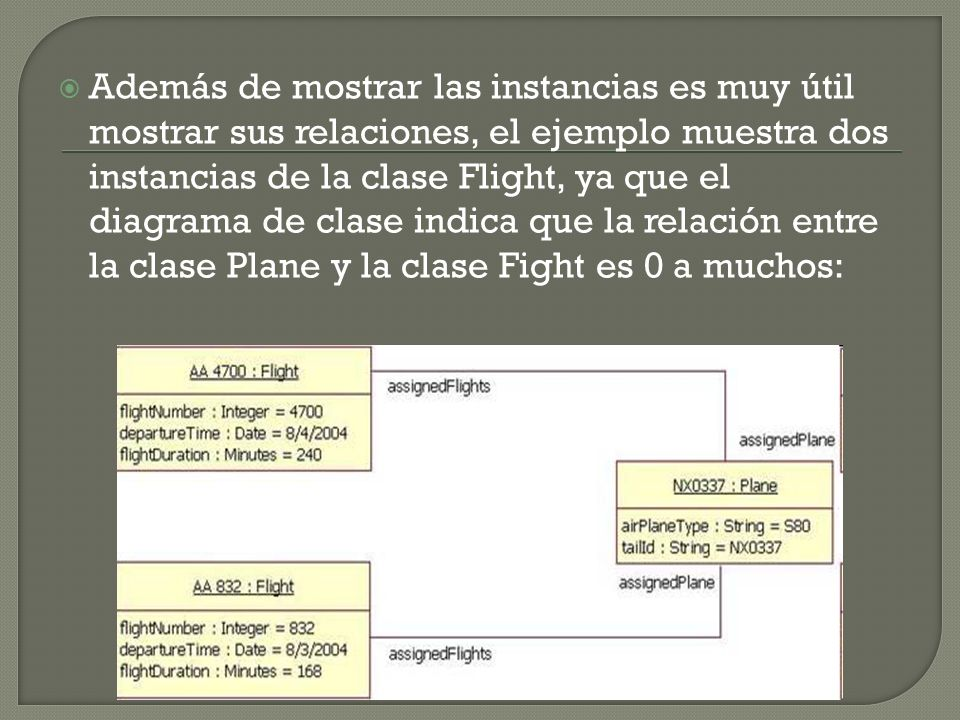 Además de mostrar las instancias es muy útil mostrar sus relaciones, el ejemplo muestra dos instancias de la clase Flight, ya que el diagrama de clase indica que la relación entre la clase Plane y la clase Fight es 0 a muchos: