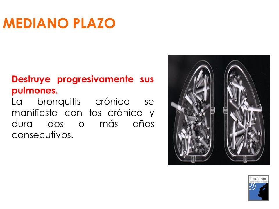 MEDIANO PLAZO Destruye progresivamente sus pulmones.