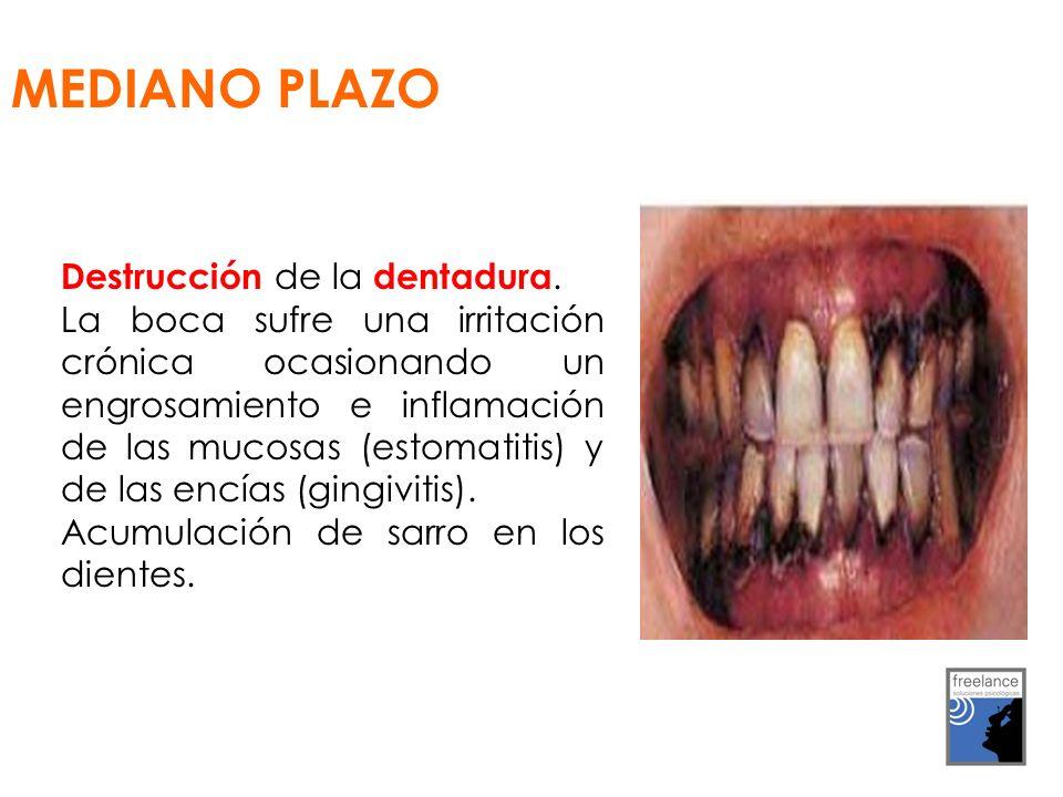 MEDIANO PLAZO Destrucción de la dentadura.