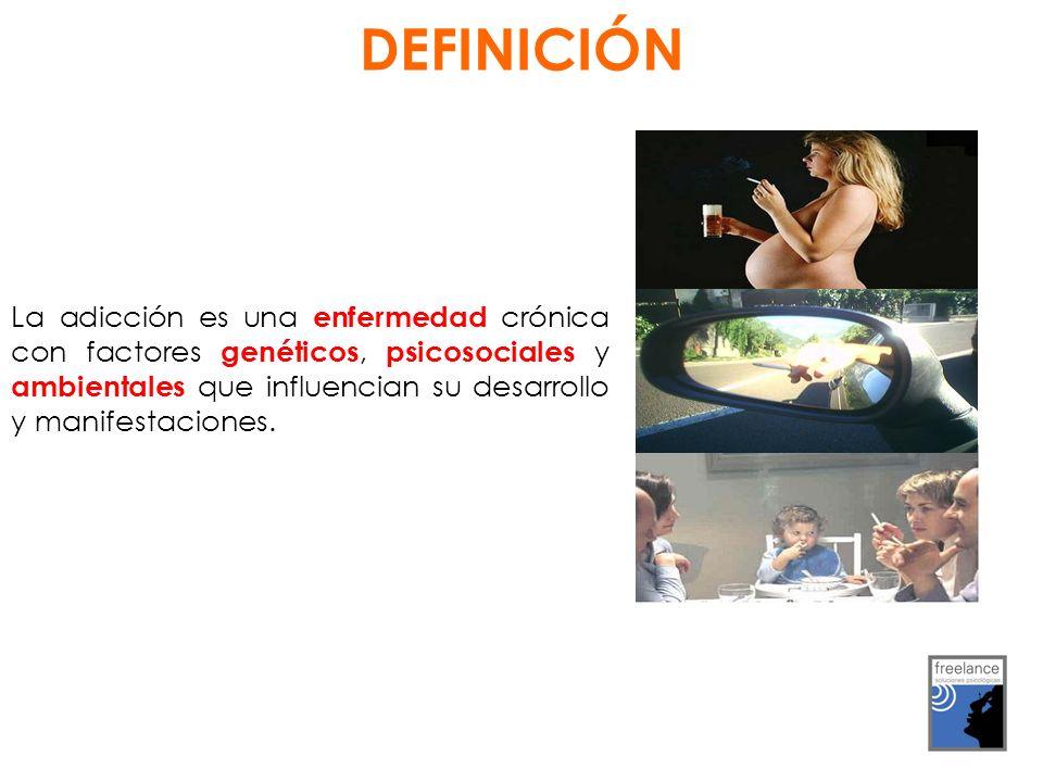 DEFINICIÓN La adicción es una enfermedad crónica con factores genéticos, psicosociales y ambientales que influencian su desarrollo y manifestaciones.
