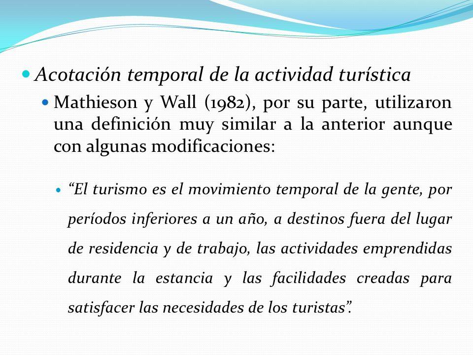 Acotación temporal de la actividad turística