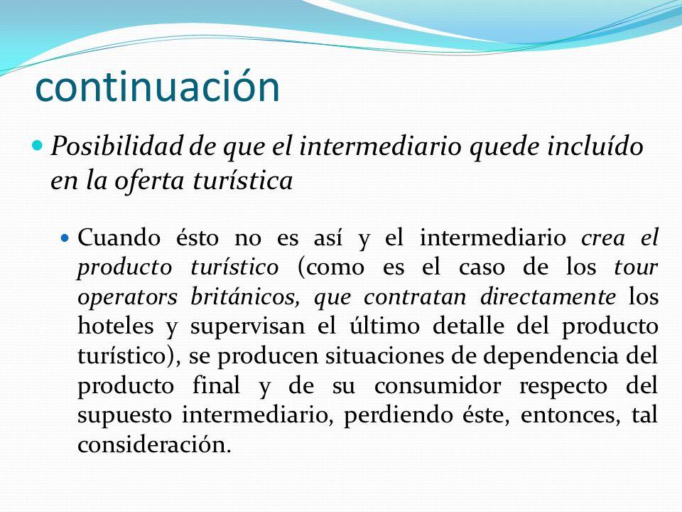 continuación Posibilidad de que el intermediario quede incluído en la oferta turística.