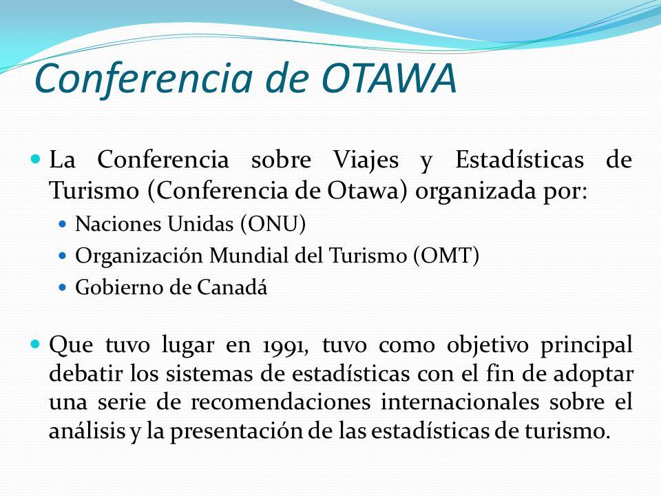 Conferencia de OTAWA La Conferencia sobre Viajes y Estadísticas de Turismo (Conferencia de Otawa) organizada por: