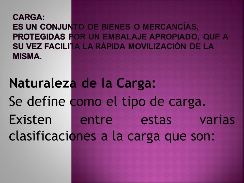 Naturaleza de la Carga: Se define como el tipo de carga.