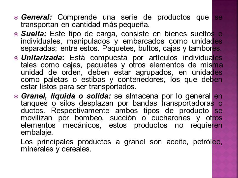 General: Comprende una serie de productos que se transportan en cantidad más pequeña.