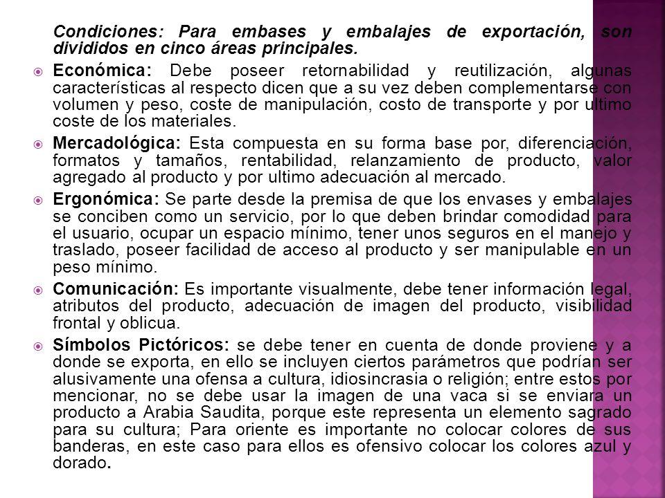Condiciones: Para embases y embalajes de exportación, son divididos en cinco áreas principales.