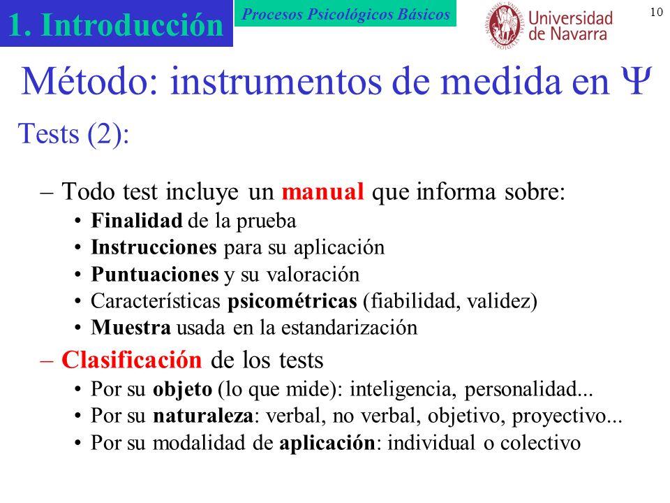 Método: instrumentos de medida en  Tests (2):
